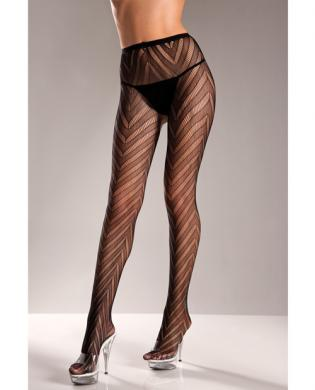 Designed Chevron Pattern Lycra Lace Pantyhose Black O/S