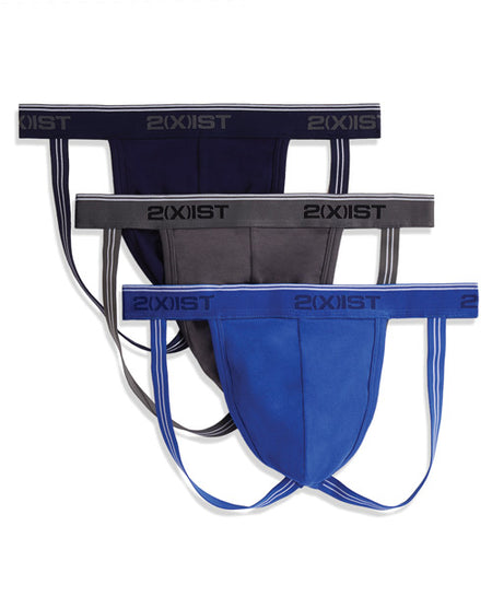 2XIST 3 Pk Jock Strap Blue/Red/Black MD