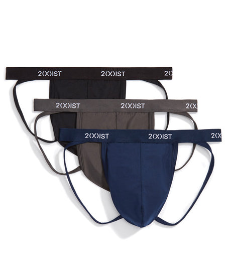 2XIST 3 Pk Jock Strap Black/Charcoal/Navy MD