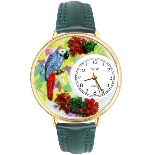 African Grey Parrot Watch in Gold (Large)