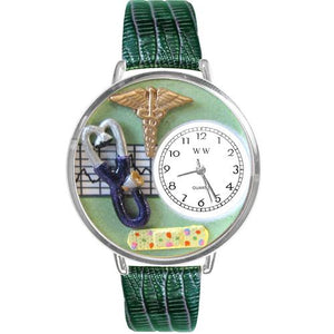 Nurse 2 Green Watch in Silver (Large)