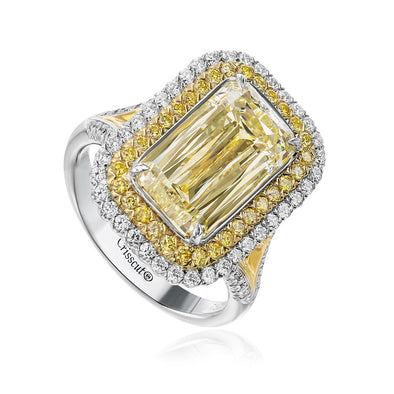 Christopher Designs Bridal Engagement Ring Crisscut Fancy Yellow 1.69cts Emerald Cut Diamond Ring 6.5