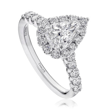 Christopher Designs Bridal Engagement Ring L'Amour Crisscut Pear .61ct Engagement Ring