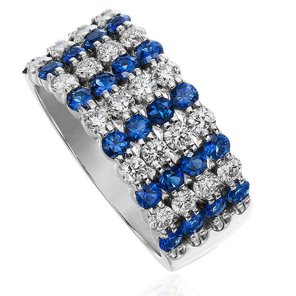 Christopher Designs Ring Sapphire & Diamond Four Row Band