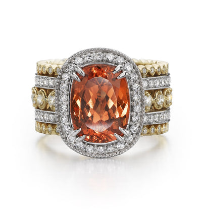 Christopher Designs Ring Two-Tone Garnet & Diamond Ring 6.5
