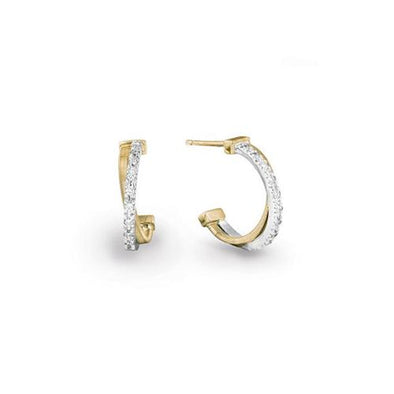 Marco Bicego Earring Goa Gold & Pavé Diamond Crossover Hoop Earrings