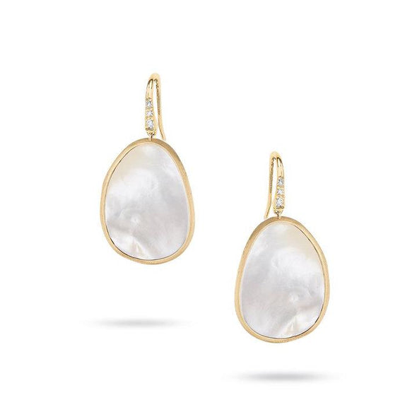 Marco Bicego Earring Lunaria White Mother of Pearl & Diamond Drop Earrings