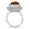 PAGE Estate Ring Platinum Vintage Coral & Diamond Ring 6