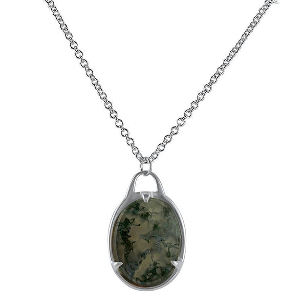 PAGE Estate Necklaces and Pendants Sterling Silver Agate Necklace