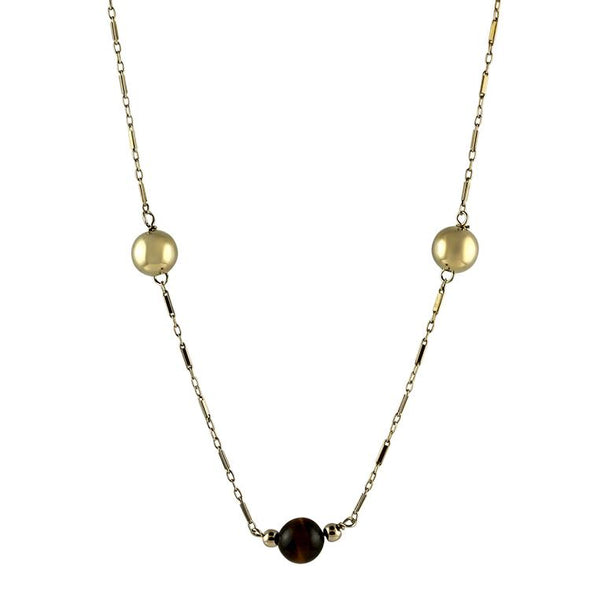 PAGE Estate Necklaces and Pendants Tiger-Eye & Gold Ball Necklace