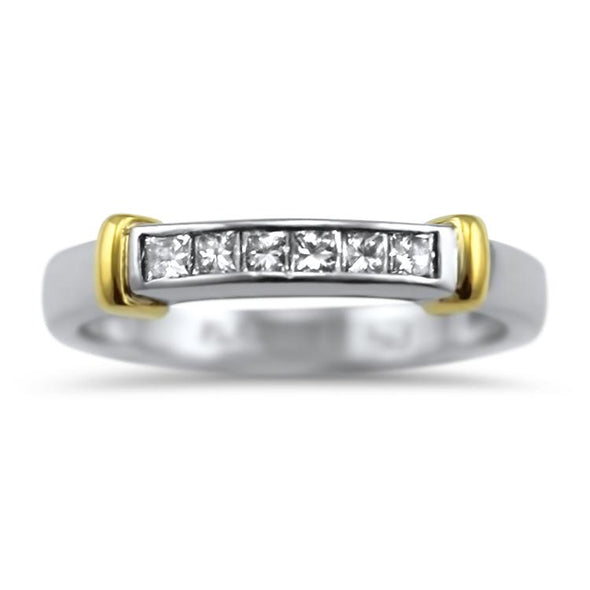 PAGE Estate Wedding Band Two Tone Princess Cut Diamond Band 5.5