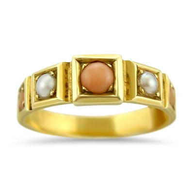 PAGE Estate Ring Victorian Coral & Pearl Band 6.5