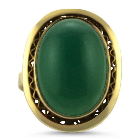 PAGE Estate Ring Vintage Chalcedony Statement Ring 7.5