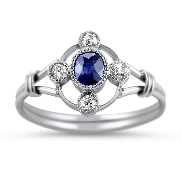 PAGE Estate Ring Vintage Sapphire & Diamond Ring 6.25
