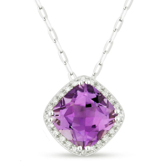 Springer's Collection Necklaces and Pendants Amethyst & Diamond Halo Necklace