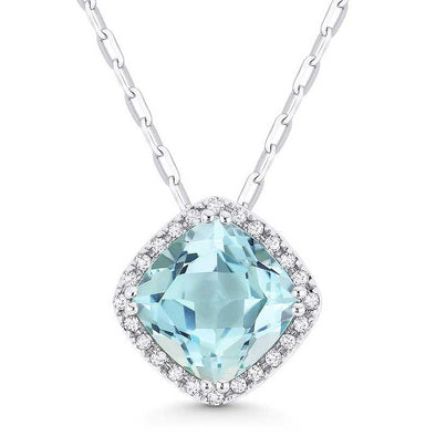 Springer's Collection Necklaces and Pendants Blue Topaz & Diamond Halo Necklace