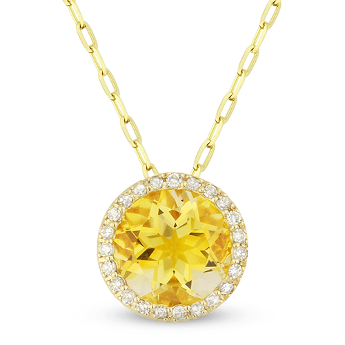 Springer's Collection Necklaces and Pendants Citrine & Diamond Halo Necklace