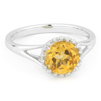 Springer's Collection Ring Citrine & Diamond Halo Ring