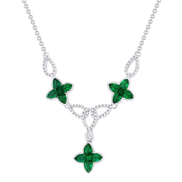 Springer's Collection Necklaces and Pendants Emerald & Diamond Clover Necklace