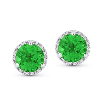 Springer's Collection Earring Emerald & Diamond Halo Studs