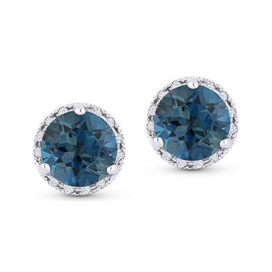 Springer's Collection Earring London Topaz & Diamond Halo Studs