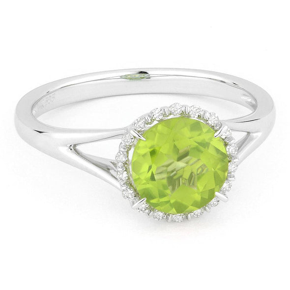 Springer's Collection Ring Peridot & Diamond Halo Ring