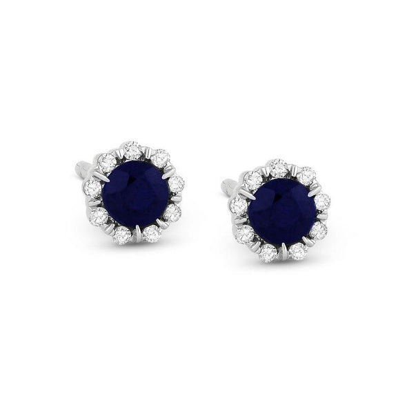Springer's Collection Earring Petite Sapphire & Diamond Halo Studs