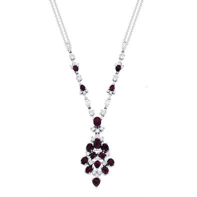 Springer's Collection Necklaces and Pendants Ruby & Diamond Cluster Necklace
