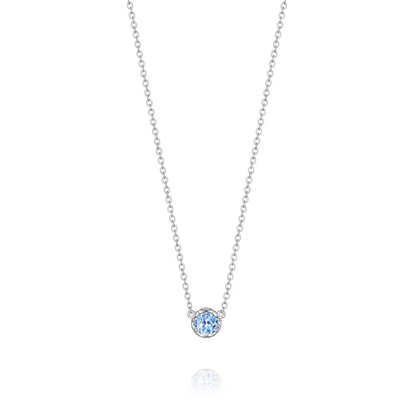 Tacori Necklaces and Pendants Crescent Station Swiss Blue Topaz Necklace
