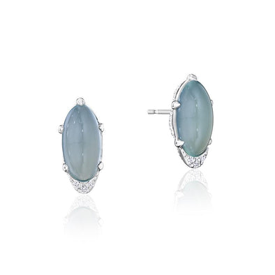 Tacori Earring Oval-Shaped Green Chalcedony Earrings