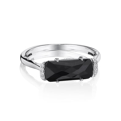 Tacori Ring Solitaire Emerald-Shaped Black Onyx Ring