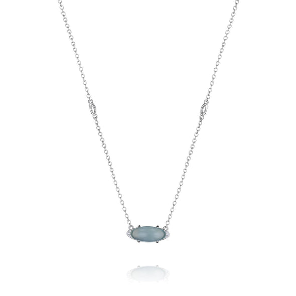 Tacori Necklaces and Pendants Solitaire Oval Green Chalcedony Necklace
