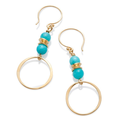 Tracy Johnson Earring Amazonite Circle Drop Earrings