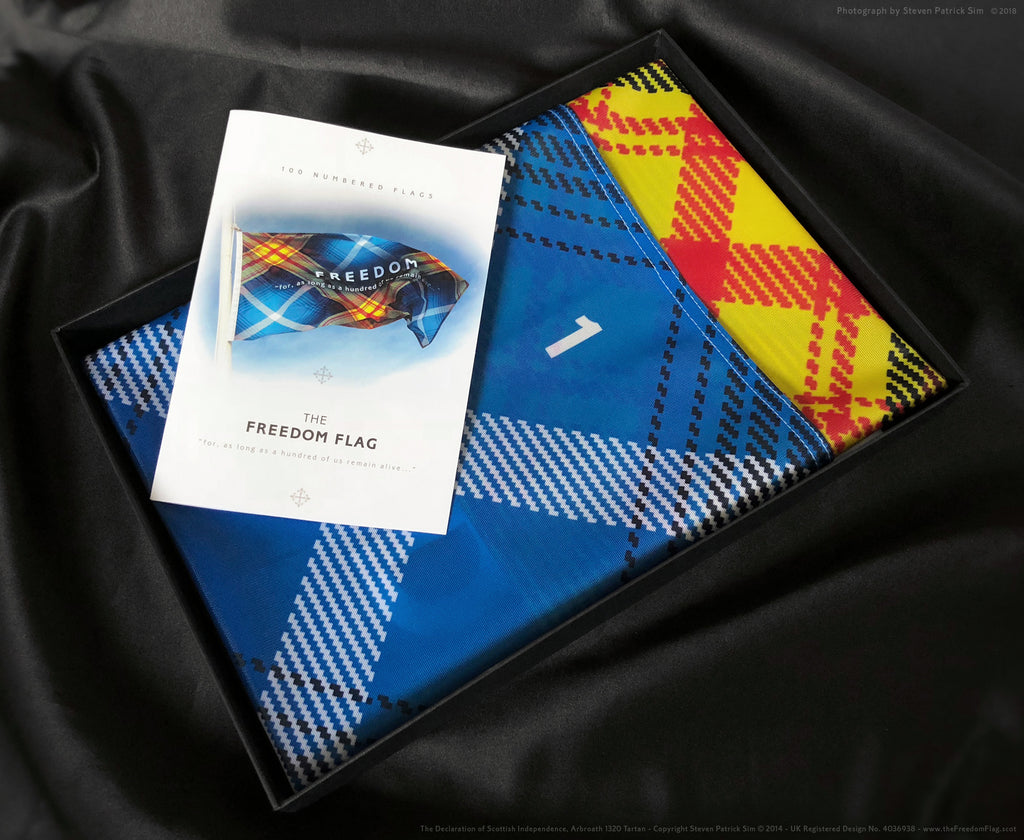 The Freedom flag, folded and boxed in a quality presentation box, with 16 page booklet