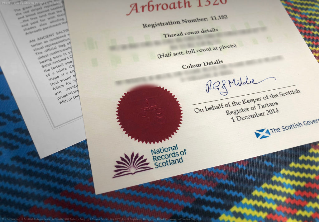 The tartan certificate - The Declaration of Scottish Independence tartan flag - FREEDOM