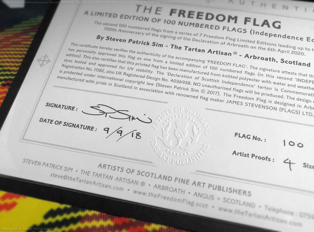 The certificate, signed and embossed ltd edition Freedom tartan flag