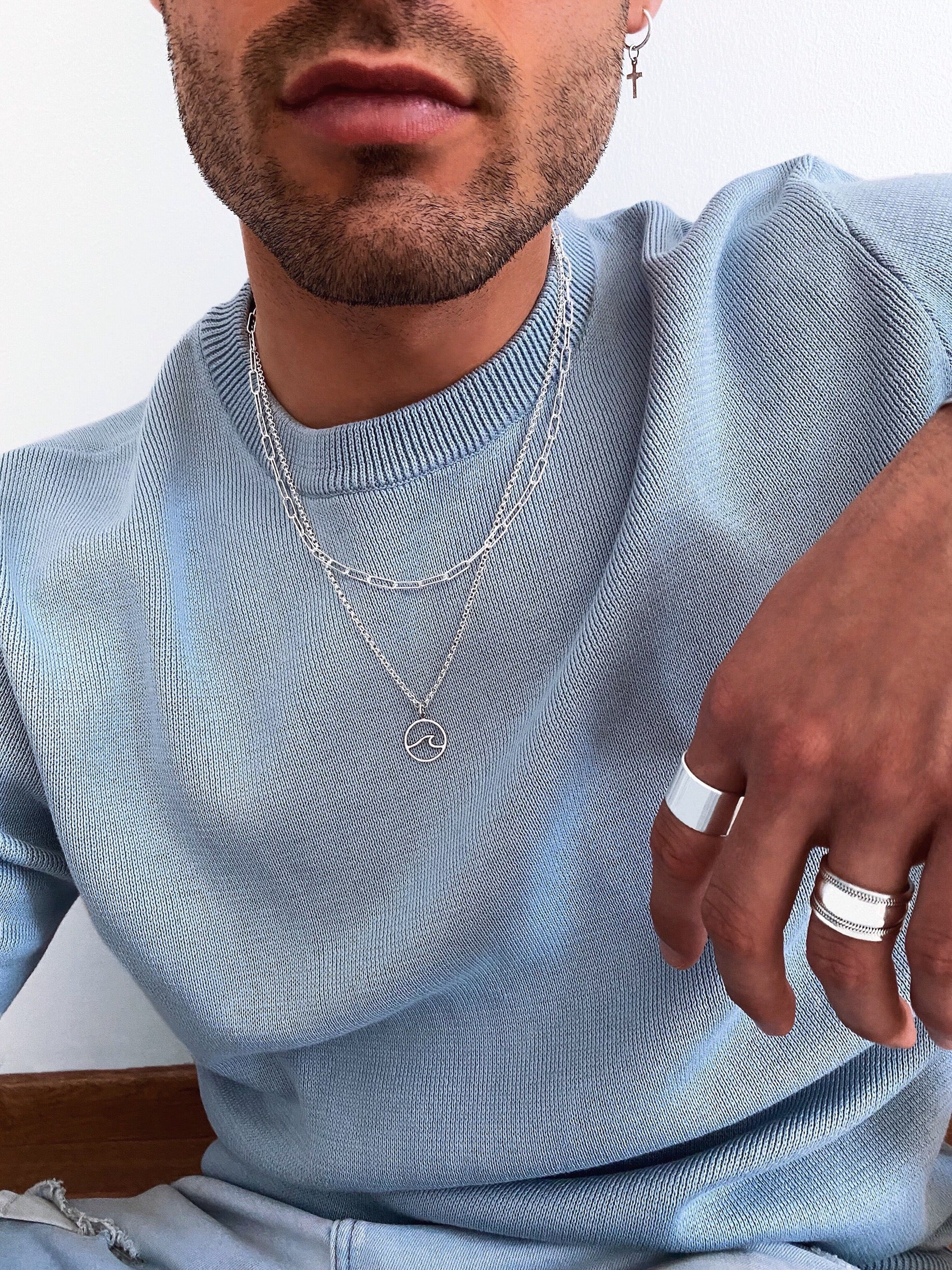 Necklace with pendants and chains for men