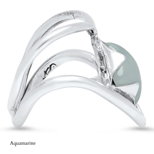 Sterling Silver with Aquamarine Rings Gift Set