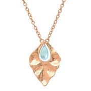Blue Topaz Dew Drop Pendant in Rose Gold