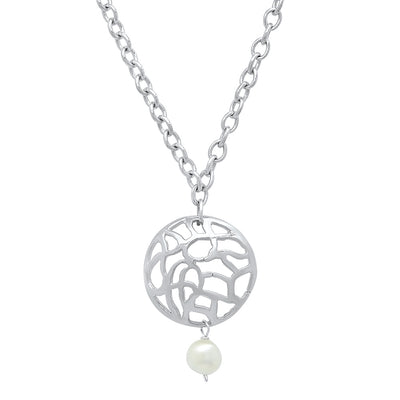 Water Disk Pendant in Sterling Silver