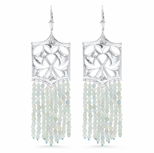 Hatchet Fringe Earrings in Aquamarine