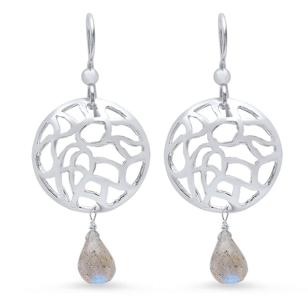 Water Disk Earrings in Sterling Silver