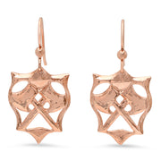 Small Hatchet Gemstone Earrings in Rose Gold