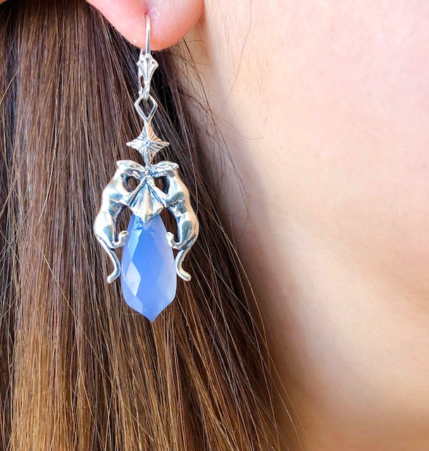 Starlight Panther Drop Earrings