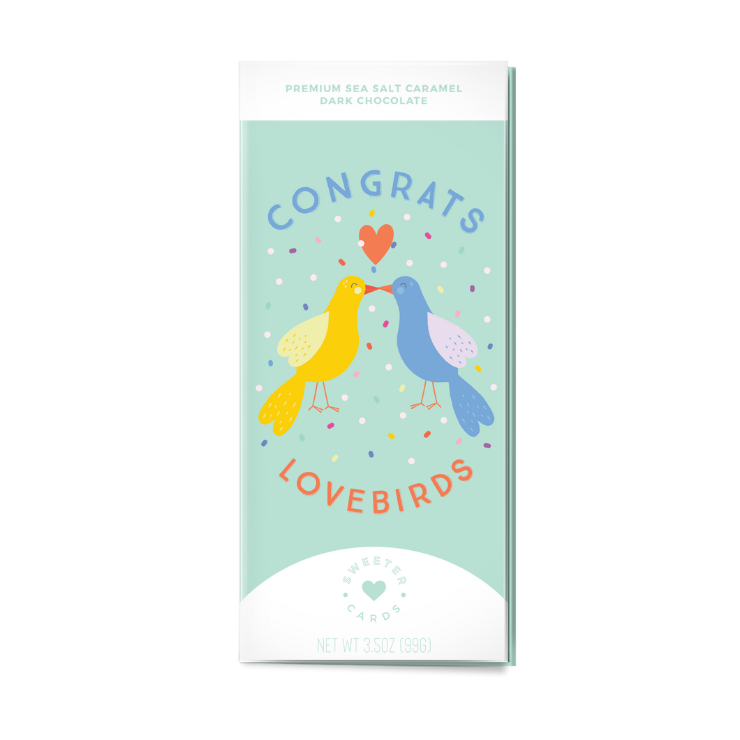 CONGRATS LOVEBIRDS<br>Sea Salt Caramel Dark Chocolate