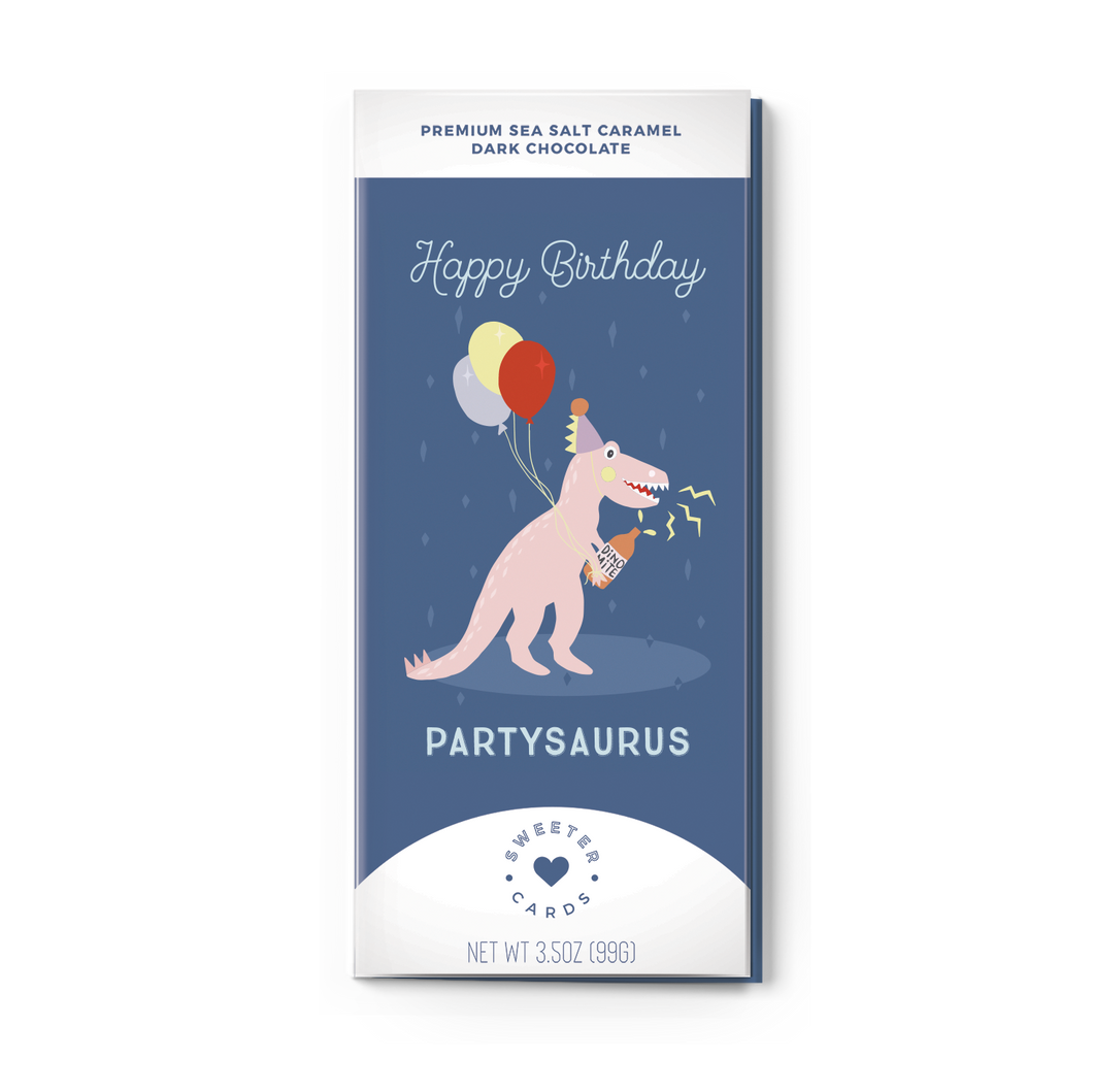 HAPPY BIRTHDAY, PARTYSAURUS<br>Sea Salt Caramel Dark Chocolate