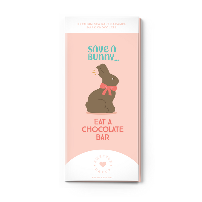 SAVE A BUNNY, EAT A CHOCOLATE BAR<br>Sea Salt Caramel Dark Chocolate