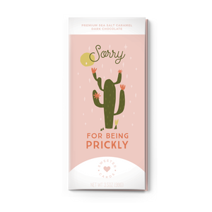 SORRY FOR BEING  PRICKLY<br>Sea Salt Caramel Dark Chocolate
