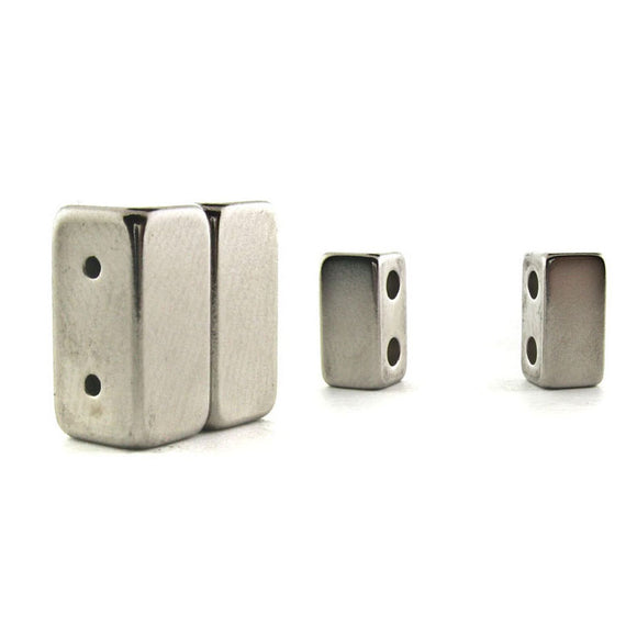 Magnetic Clasp 2 Hole Silver Plated Set Of 10 MC03