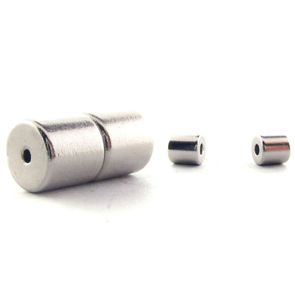 6mm Magnetic Clasp Set Of 10 Maglok Silver Barrel MC16
